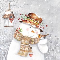 Snowman Holding Robin Napkins