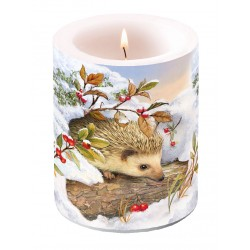 Hedgehog In Snow Pillar Candle