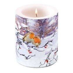 Robins on Branch Pillar Candle