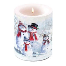 Snowman With Hat Pillar Candle