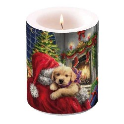 Puppy at Fire Pillar Candle