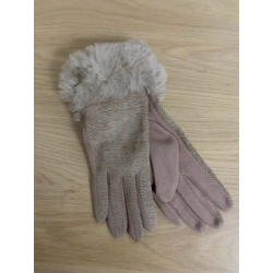 Beige Chenille Fur Trim Gloves