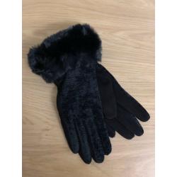 Black Chenille Fur Trim Gloves