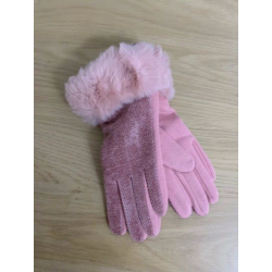 Pink Chenille Fur Trim Gloves