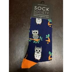 Owls Navy Socks