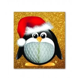 Gold Glitter Penguin Card