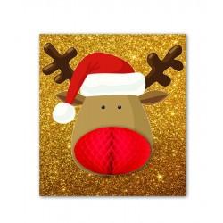 Gold Glitter Reindeer Card