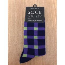 Check Mauve and Green Socks